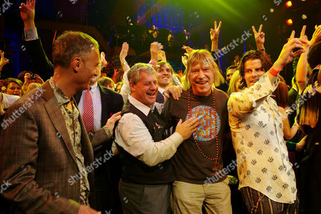 Press Night Curtain Call For 'Hair' at the Gielgud Theatre Michael Le Poer Trench Cameron Mackintosh with One of the Original Writers James Rado and A D Coughlan