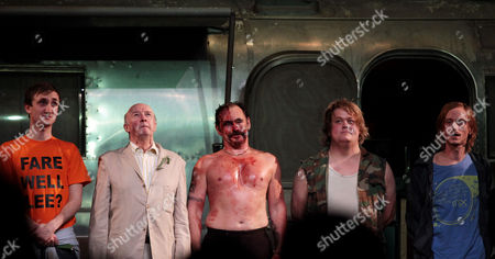 Press Night For 'Jerusalem' at the Apollo Theatre and Afterparty at Cafe De Paris Curtain Call - Tom Brooke Alan David Mark Rylance Danny Kirrane Mackenzie Crook