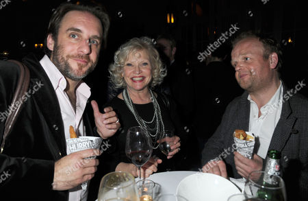Press Night Party For What the Butler Saw at the Waldof Hotel Aldwych London Sandra Dickinson & Her Husband Mark Osmond with Toby Jones and Friend