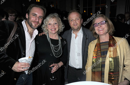 Stock Image of Press Night Party For What the Butler Saw at the Waldof Hotel Aldwych London Sandra Dickinson & Her Husband Mark Osmond with Toby Jones and Friend