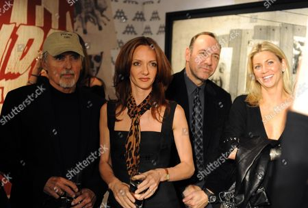 Private View of the Lazarides Extravaganza 'Shut Down Show' at the Lazarides Gallery Charing Cross Road Dennis Hopper Victoria Hopper Kevin Spacey and Stephanie Dorrance