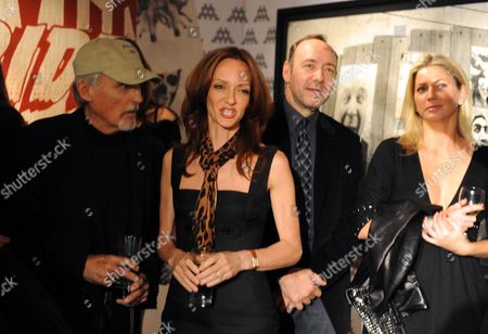 Stock Image of Private View of the Lazarides Extravaganza 'Shut Down Show' at the Lazarides Gallery Charing Cross Road Dennis Hopper Victoria Hopper Kevin Spacey and Stephanie Dorrance
