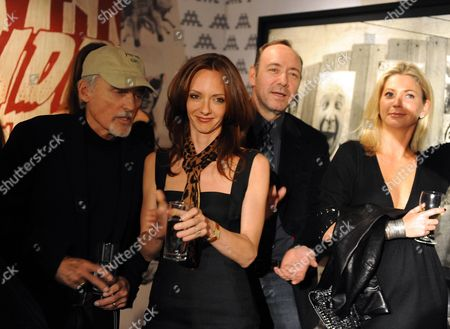 Stock Picture of Private View of the Lazarides Extravaganza 'Shut Down Show' at the Lazarides Gallery Charing Cross Road Dennis Hopper Victoria Hopper Kevin Spacey and Stephanie Dorrance