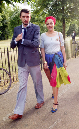 Private View of the Serpentine Gallery 2010 Pavilion Kensington Gardens Zadie Smith with Her Husband Nick Laird