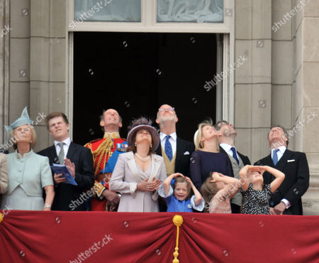 Scenes in the Mall During Trooping of the Colour Duke and Duchess of Kent Earl and Countess of St Andrews Viscountess Serena Linley Tim Taylor with His Daughters Estella Taylor (l) and Eloise Taylor (r) and Viscount David Linley with His Daughter Margarita Armstrong-jones (c)
