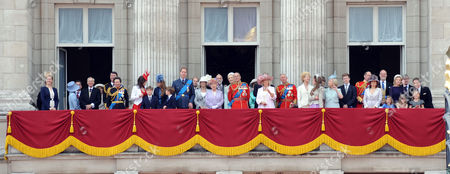Scenes in the Mall During Trooping of the Colour Lady Gabriella Windsor the Duke & Duchess of Gloucester Anne the Princess Royal with Her Husband Vice-admiral Timothy Laurence Princess Eugenie Princess Beatrice Prince William Prince Edward Earl of Essex Sophie Countess of Wessex Queen Elizabeth Ii Prince Michael of Kent Princess Michael of Kent Prince Philip Duke of Edinburgh Camilla Duchess of Cornwall and Charles Prince of Wales Duke and Duchess of Kent Earl and Countess of St Andrews Viscountess Serena Linley Tim Taylor with His Daughters Estella Taylor (l) and Eloise Taylor (r) and Viscount David Linley with His Daughter Margarita Armstrong-jones (c)