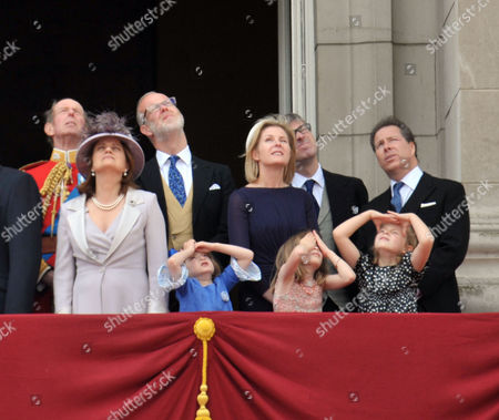 Scenes in the Mall During Trooping of the Colour Duke of Kent Earl and Countess of St Andrews Viscountess Serena Linley Tim Taylor with His Daughters Estella Taylor (l) and Eloise Taylor (r) and Viscount David Linley with His Daughter Margarita Armstrong-jones (c)