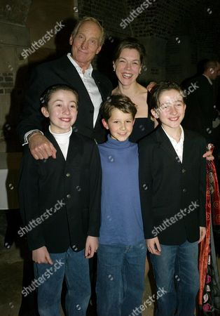 Shadowlands 1st Night Party at the Crypt at St Martin-in-the-fields in Trafalgar Square London Janie Dee & Charles Dance with Christian Lees Adam Megginson & Johan Lees not Left to Right