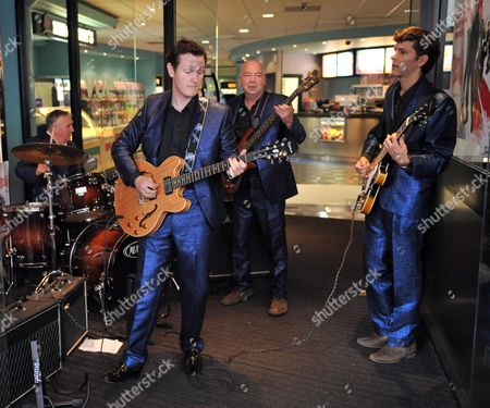 Stock Picture of Telstar Live Performance of Songs From the Film at the Vue Cinema Leicester Square London Clem Cattini Nick Moran Matthew Baynton