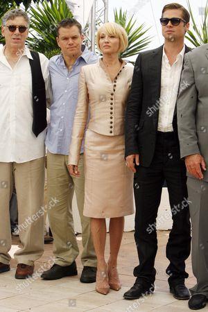 The 2007 Cannes 60th Anniversary Film Festival - 'Oceans 13' Elliot Gould Matt Damon Ellen Birkin and Brad Pitt