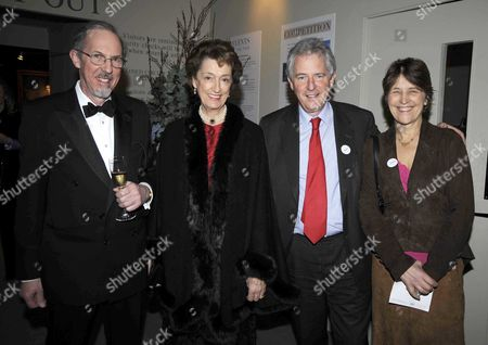 the Bada Antiques and Fine Art Fair Vip Gala Evening Duke of York's Square Chelsea Lady Susan Hussey with Her Brothers (l) James Waldegrave 13th Earl Waldegrave and (r) William Arthur Waldegrave Baron Waldegrave of North Hill with His Wife Caroline Waldegrave