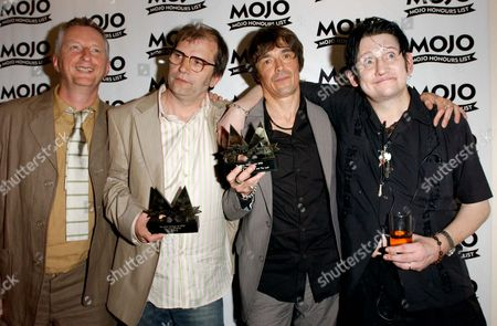 The Mojo Honours List Held at Porchester Hall W11 Billy Bragg and Steve Earle with Shane Macgowan and Spider Stacy (the Pogues)