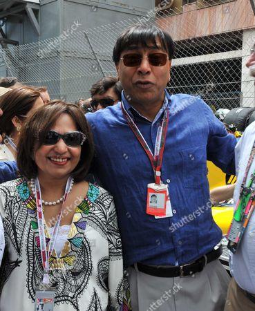 The Monaco Grand Prix Race Day Sunday Lakshmi Mittal and Usha Mittal