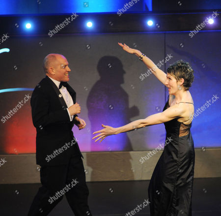 the Olivier Theatre Awards Arrivals and Drinks Reception at the Grosvenor House Hotel Tamsin Greig Congratulates Winner of the Best Entertainment Award Tim Whitnall For ''morecambe'
