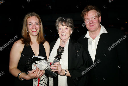 the Olivier Theatre Awards Arrivals and Drinks Reception at the Grosvenor House Hotel Dame Maggie Smith Winner of the Special Award with Her Son Christopher Larkin and His Wife Sukie Stevens