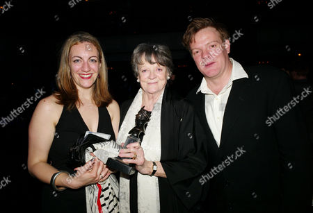 Stock Picture of the Olivier Theatre Awards Arrivals and Drinks Reception at the Grosvenor House Hotel Dame Maggie Smith Winner of the Special Award with Her Son Christopher Larkin and His Wife Sukie Stevens