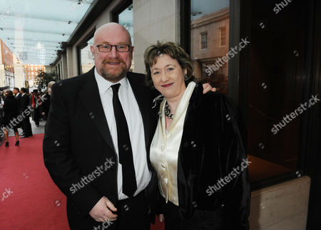 the Olivier Theatre Awards Arrivals and Drinks Reception at the Grosvenor House Hotel Owners of the Ambassador Theatre Howard Panter and Rosemary Squire