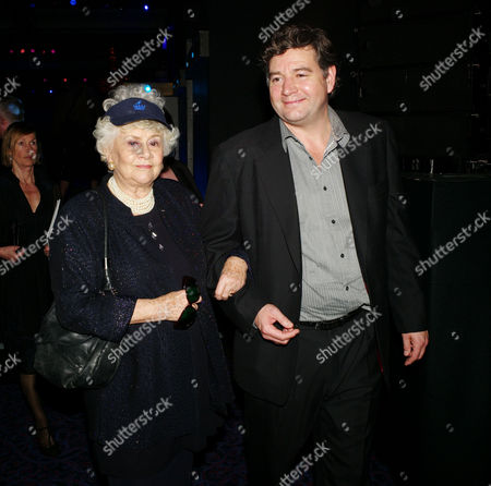the Olivier Theatre Awards Arrivals and Drinks Reception at the Grosvenor House Hotel Joan Plowright Lady Olivier with Her Son Richard