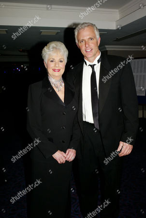 Stock Image of the Olivier Theatre Awards Arrivals and Drinks Reception at the Grosvenor House Hotel Shirley Jones and Patrick Cassidy (presenters of Best Actor in A Musical)
