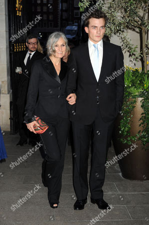 the Olivier Theatre Awards Arrivals and Drinks Reception at the Grosvenor House Hotel Rupert Friend Arrives with Sharman Macdonald (keira Knightley's Mother)