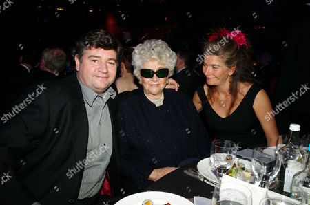 the Olivier Theatre Awards Arrivals and Drinks Reception at the Grosvenor House Hotel Joan Plowright Lady Olivier with Her Son Richard and Daughter Tamsin