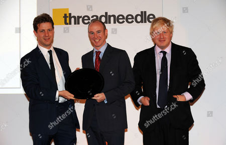 the Threadneedle and Spectator Parliamentarian Awards Lunch in the Ballroom Claridges Boris Johnson Guest of Honour with Fraser Nelson Editor of the Spectator Who is Presenting the Awards with Daniel Hannan Winner of 'Speech of the Year'