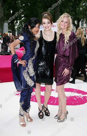 Uk Premiere of 'Angus Thongs and Perfect Snogs' at the Empire Leicester Square Manjeeven Grewal Georgia Groome and Georgia Henshaw