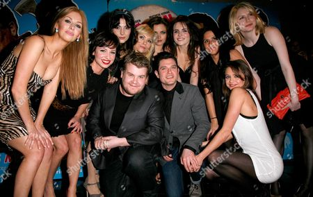 Uk Premiere of 'Lesbian Vampire Killers' at the Vue Leicester Square (l-r) Ashley Mulheron Lucy Gaskell Silvia Colloca Myanna Buring Emer Kenny Sianad Gregory Margarita Hall and Louise Dylan with James Corden and Mathew Horne