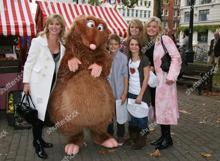 Uk Premiere of 'Ratatouille' with French Market in Leicester Square Gardens Anthea Turner and Sally Meen with Their Children