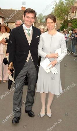 The Wedding of Laura Parker Bowles and Harry Lopes at St Cyriac's Church Lacock Wiltshire\ Lady Sarah Armstrong Jones and Her Husband Daniel Chatto
