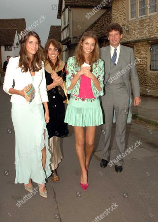 The Wedding of Laura Parker Bowles and Harry Lopes at St Cyriac's Church Lacock Wiltshire Tim & Emma Hanbury with Their Daughters Rose & Marina