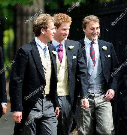 Wedding of Nicholas Van Cutsem and Alice Hadden-paton at the Guards Chapel and the Reception at Wellington Barracks Birdcage Walk Westminster London Princes William and Harry with the Other Ushers Arrive at the Chapel