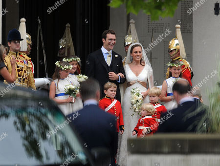 Wedding of Nicholas Van Cutsem and Alice Hadden-paton at the Guards Chapel and the Reception at Wellington Barracks Birdcage Walk Westminster London the Bride & Groom Nicholas Van Cutsem and Alice Hadden-paton