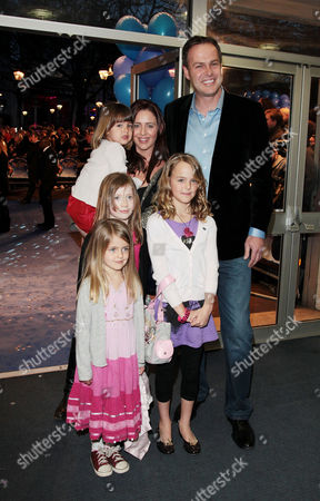 World Premiere of 'Nanny Mcphee and the Big Bang' at the Odeon Westend Peter Jones (dragons Den) with His Partner Tara Capp and Their 3 Children and Guest