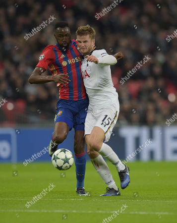 Eric Dier of Tottenham Hotspur and Lacina Traore of CSKA Moscow