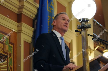 South Dakota Gov. Dennis Daugaard speaks during his annual budget address before state lawmakers in Pierre, S.D., . The Republican governor is proposing a $1.62 billion general fund budget for the upcoming fiscal year