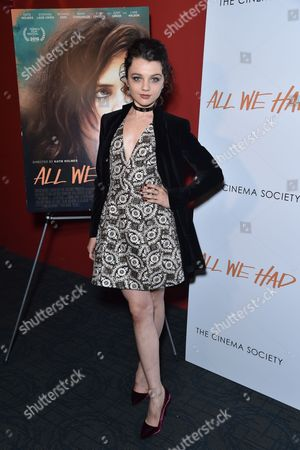 Editorial picture of 'All We Had' film premiere, Arrivals, New York, USA - 06 Dec 2016