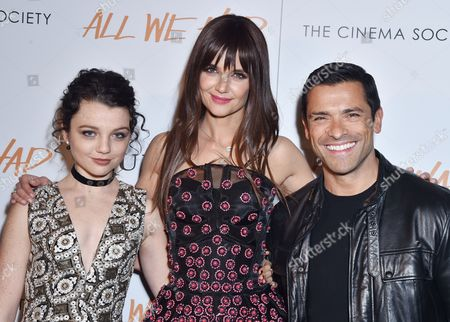 Stock Image of Stefania Owen, Katie Holmes, and Mark Consuelos