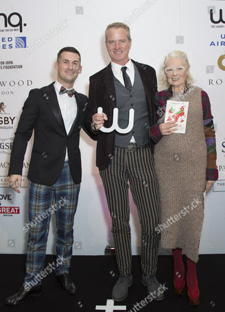 Host Mark McAdam, Winner of the Winq Activism Award Dan Mathews and Vivienne Westwood