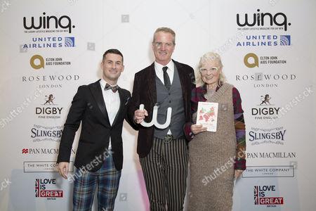 Stock Image of Host Mark McAdam, Winner of the Winq Activism Award Dan Mathews and Vivienne Westwood