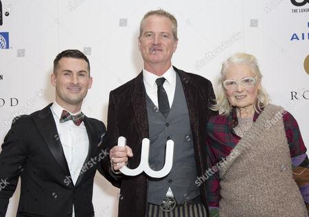 Stock Photo of Host Mark McAdam, Winner of the Winq Activism Award Dan Mathews and Vivienne Westwood