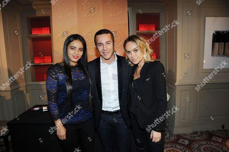 Frederic Charpentier (Directeur de la Communication Shiseido Group) and Hafsia Herzi, Cecile de Menibus