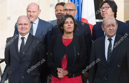 Bruno Le Roux, Myriam El Khomri, Jean-Yves Le Drian, Jean-Marie Le Guen, Harlem Desir, and Jean Yves Place