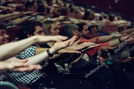 Stock Image of London, England, 27th June 2016: Magician Keith Barry Hypnotises the Audience Before the Screening of 'now You See Me 2' with a Magic and Hypnotism Show at the Picturehouse Central, London On the 27th June 2016