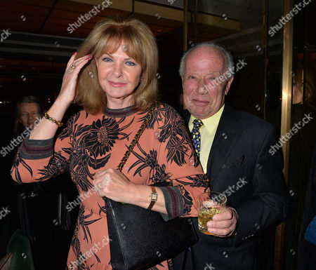 Stock Image of The Unveiling of Nick Botting's Painting 'The Rib Room - Today' - Which Celebrates the Restaurant's Status As A London Institution For Over 50 Years at the Rib Room the Jumeirah Carlton Tower Cadogan Place Chelsea London Mandy Rice Davies and Her Husband Ken Foreman