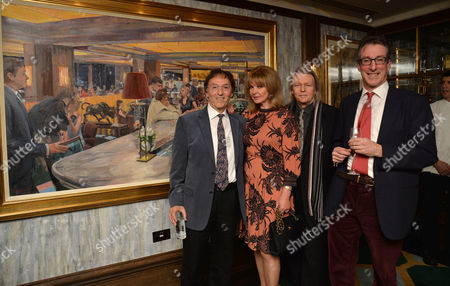 The Unveiling of Nick Botting's Painting 'The Rib Room - Today' - Which Celebrates the Restaurant's Status As A London Institution For Over 50 Years at the Rib Room the Jumeirah Carlton Tower Cadogan Place Chelsea London Don Black Mandy Rice Davies Christopher Hampton & Nick Botting