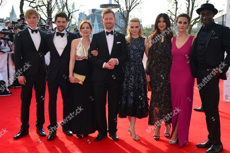 London UK 5th May 2016: Colin Morgan, Katherine Parkinson, Will Tudor, Gemma Chan, Emily Berrington, Tom Goodman Hill, Ivanno Jeremiah and Ruth Bradley at the House of Fraser British Academy Television Awards in 2016 at the Royal Festival Hall in London, England On the 8th May 2016.