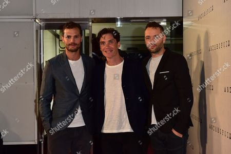 London, England 30th August 2016: Jamie Dornan, Cillian Murphy and Director Sean Ellis at the Anthropoid Premiere Held at the Bfi Southbank Cinema On the South Bank in London On the 30th August 2016.
