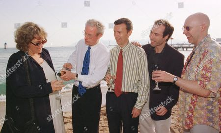 Chris Smith 2nd Left with Lottery Grant Winners On Long Beach at the Cannes Film Festival Kate Wilson Film Consortium Duncan Kenworthy Dna Alexis Lloyd Pathe Colin Vaines Film Consurtium