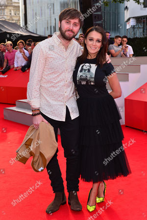 London, England 10th August 2016: James Buckley and Wife Clair Meek at the David Brent Premiere in Leicester Square, London On the 10th August 2016.